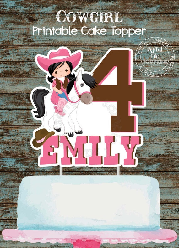 Cowgirl Printable Cake Topper Cowgirl Centerpiece Cowgirl Birthday Party Decorations Cowgirl Printable Party Supplies Cowgirl Cake