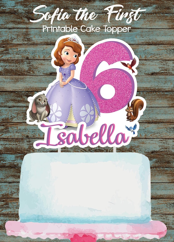 Fantastic Printable Sofia The First Cake Topper Sofia The First Etsy Personalised Birthday Cards Cominlily Jamesorg