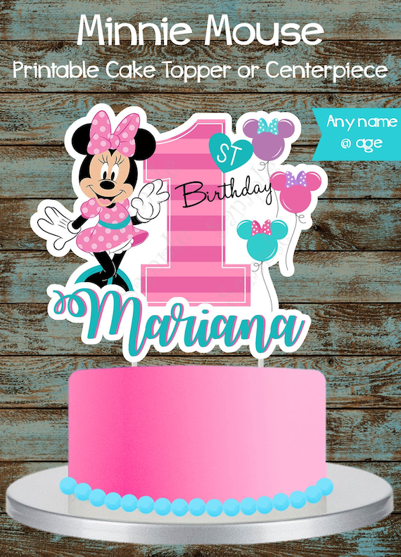 Marvelous Baby Minnie Mouse 1St Birthday Cake Topper Printable Custom Etsy Funny Birthday Cards Online Elaedamsfinfo