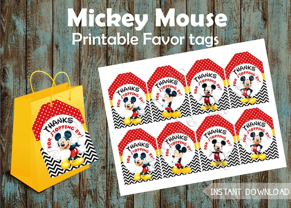 Mickey Mouse Favor Tags /& Ties