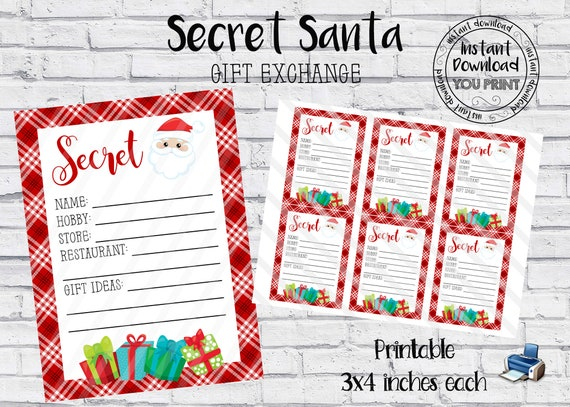 Secret Santa Printable Cards Secret Santa Gift Exchange Wish Etsy