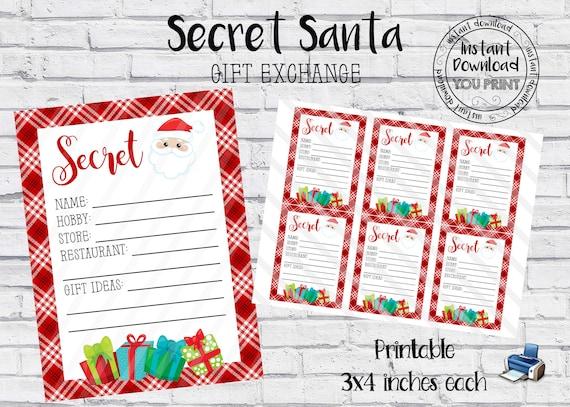 Secret Santa Printable Cards Secret Santa Gift Exchange Wish Etsy