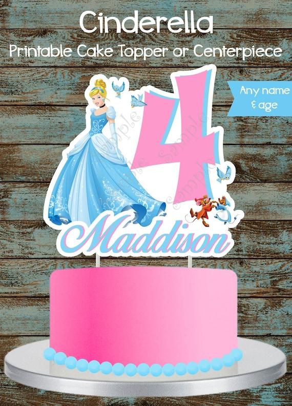 Surprising Princess Cinderella Cake Topper Princess Cinderella Etsy Birthday Cards Printable Inklcafe Filternl