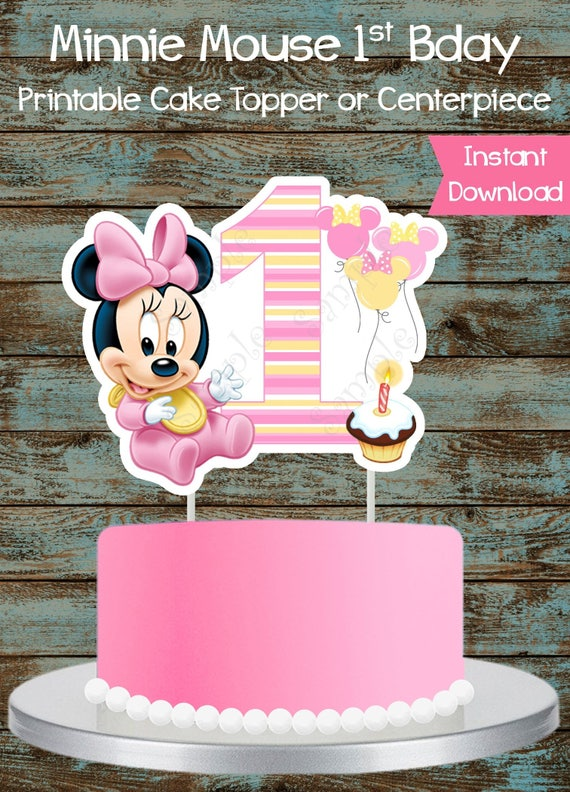 Admirable Baby Minnie Mouse 1St Birthday Printable Cake Topper Baby Etsy Funny Birthday Cards Online Elaedamsfinfo