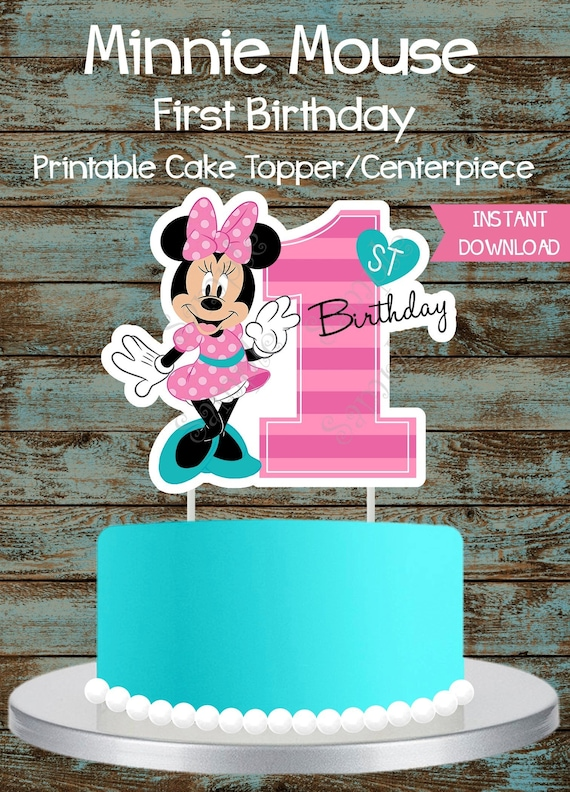 Super Baby Minnie Mouse 1St Birthday Printable Cake Topper Baby Etsy Personalised Birthday Cards Veneteletsinfo