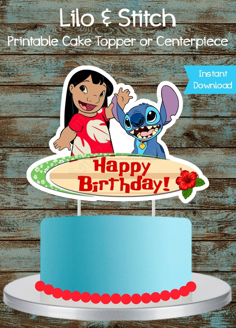 picture regarding Cake Printable named Printable Lilo and Sch Cake topper, Lilo and Sch Centerpiece, Lilo and Sch Birthday Celebration Decorations. Lilo and Sch Cake Topper