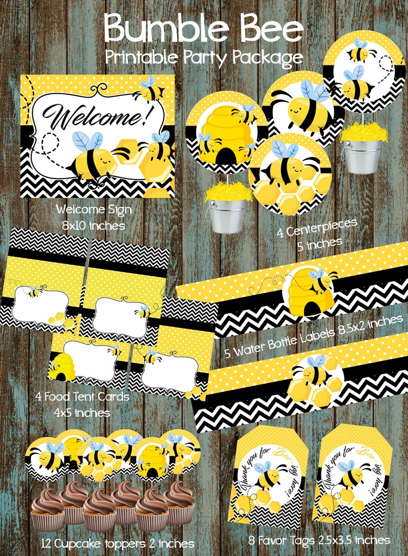 Bumble Bee Party Package, Bumble Bee Baby Shower, Bee Birthday Party  Package, Bumble Bee Party Supplies, Bee Party, Busy Bee Birthday Party