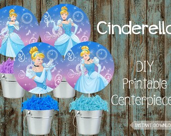 Princess Cinderella Centerpieces Cinderella Decorations Cinderella Birthday Party Cinderella Cake Topper Cinderella Birthday Party Supplies