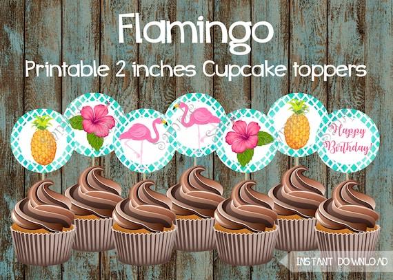 Flamingo Cupcake Toppers Luau Hawaiian