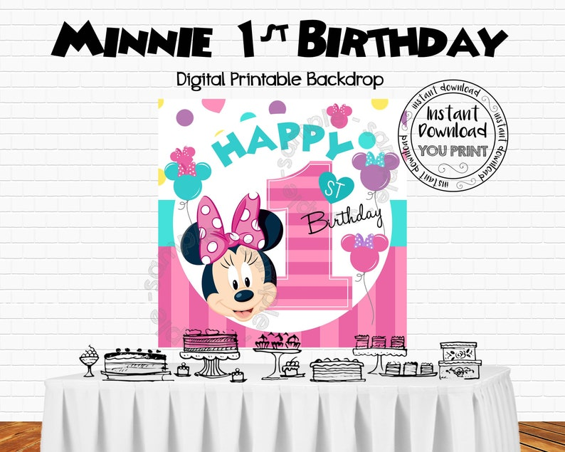 Printable Minnie Mouse 1st Birthday Backdrop Banner Party Decorations Happy