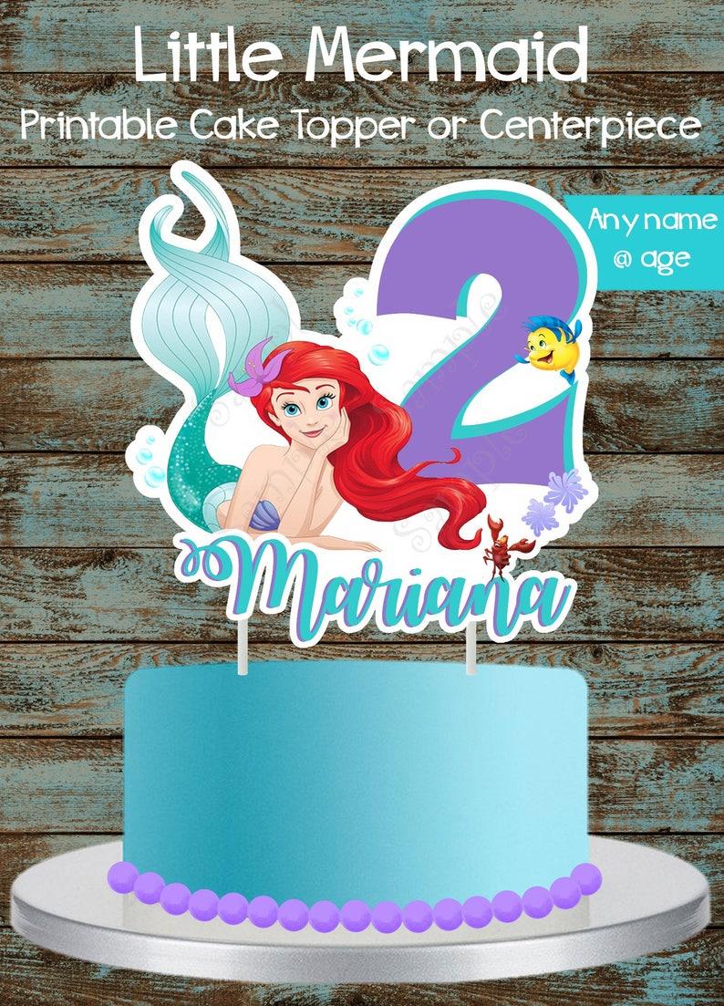 ad9823340a6 Printable Little Mermaid Cake Topper Ariel Centerpiece Ariel