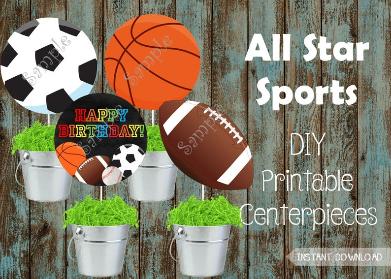 Printable Sports Centerpieces Sports Party Decorations Etsy