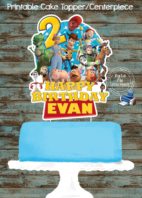 Awesome Toy Story 4 Printable Cake Topper Diy Toy Story Birthday Cake Etsy Personalised Birthday Cards Rectzonderlifede