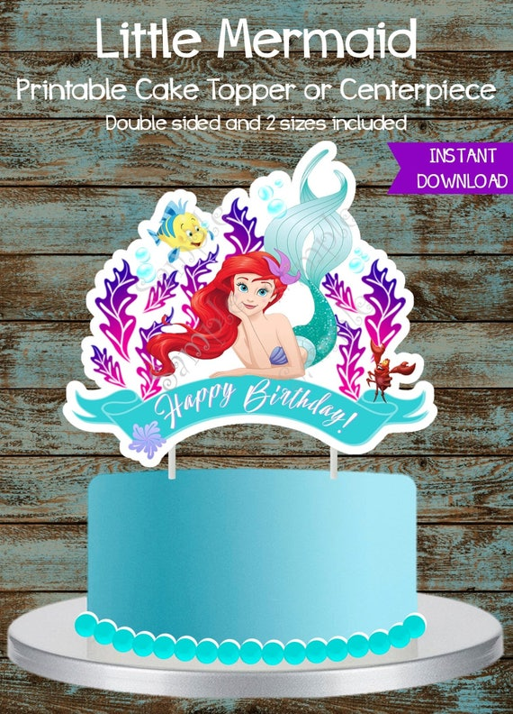 Little Mermaid Cake Topper, Little Mermaid Printable Centerpiece, Ariel  Centerpiece, Ariel Cake Topper, Ariel Birthday Party Decorations