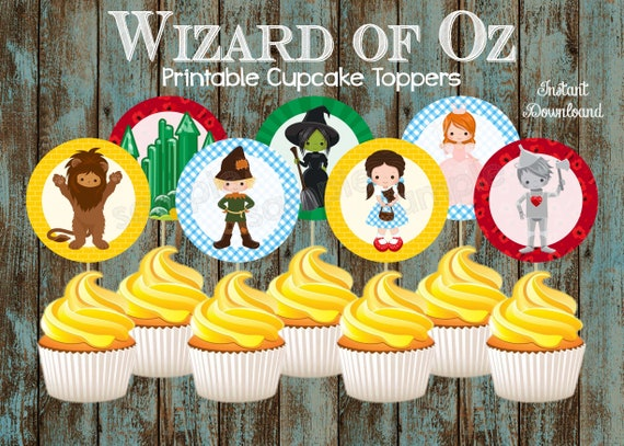 Prime Printable Wizard Of Oz Cupcake Toppers Wizard Of Oz Party Etsy Funny Birthday Cards Online Bapapcheapnameinfo
