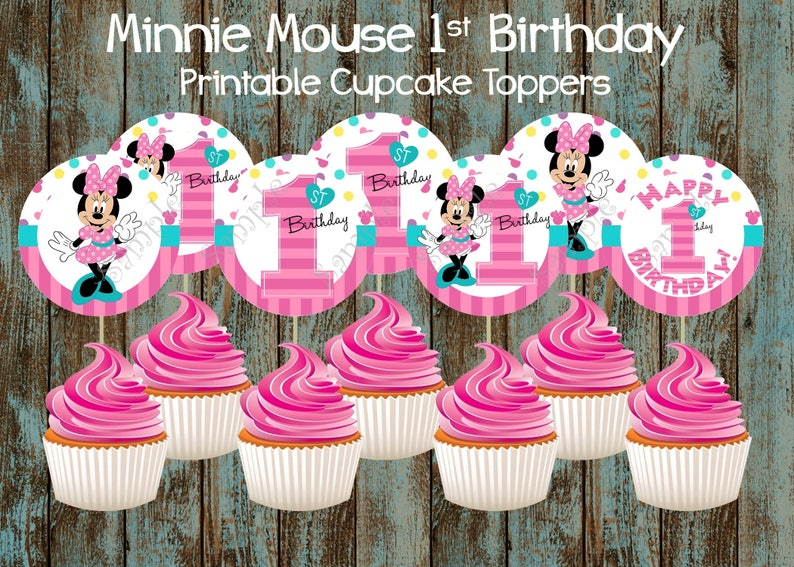 Printable Minnie Mouse First Birthday Cupcake Toppers