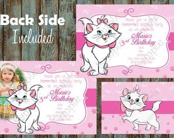 Marie Invitation, Marie Aristocats Invitation, Marie Birthday Party, Disney Marie Printable Invitation, Marie Aristocats Thank you card
