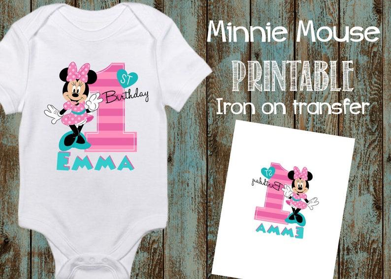 b29b480ee2f Printable Minnie Mouse 1st Birthday Iron On Transfer Fun to