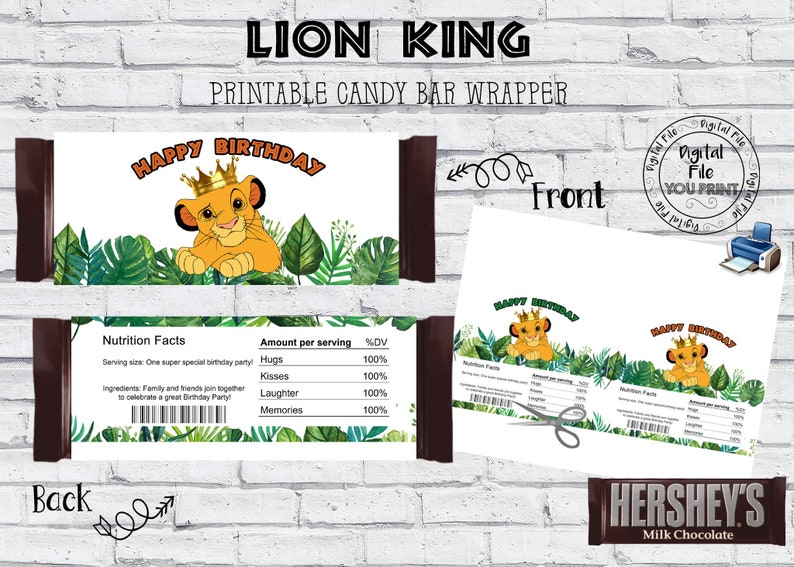 Lion King Chocolate Wrapper Printable Lion King Candy Wrappers Lion King Candy Bar Party Favor Wrappers Lion King Party Favors