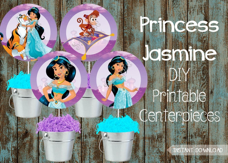 Princess Jasmine Centerpieces Princess Jasmine Decorations Etsy