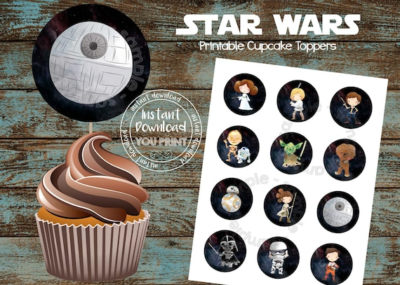 Super Star Wars Printable Cupcake Toppers Star Wars Party Supplies Etsy Funny Birthday Cards Online Bapapcheapnameinfo