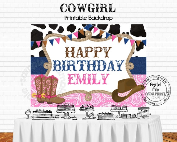 Printable Cowgirl Backdrop Cowgirl Birthday Party Decorations Cowgirl Party Cowgirl Birthday 5 X7 Backdrop Printable Cowgirl Banner