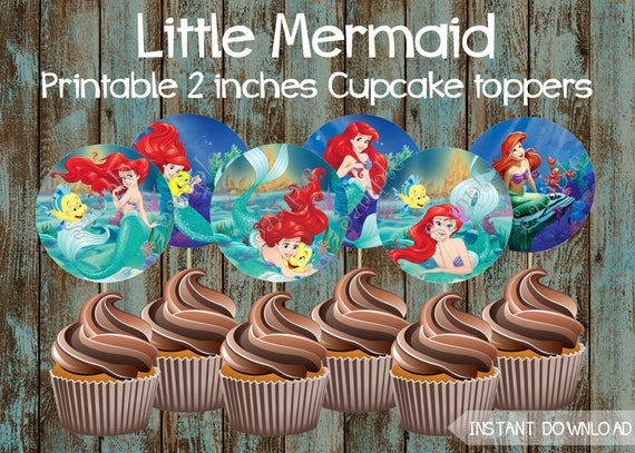 Little Mermaid Cupcake Toppers Little Mermaid Birthday Party Etsy