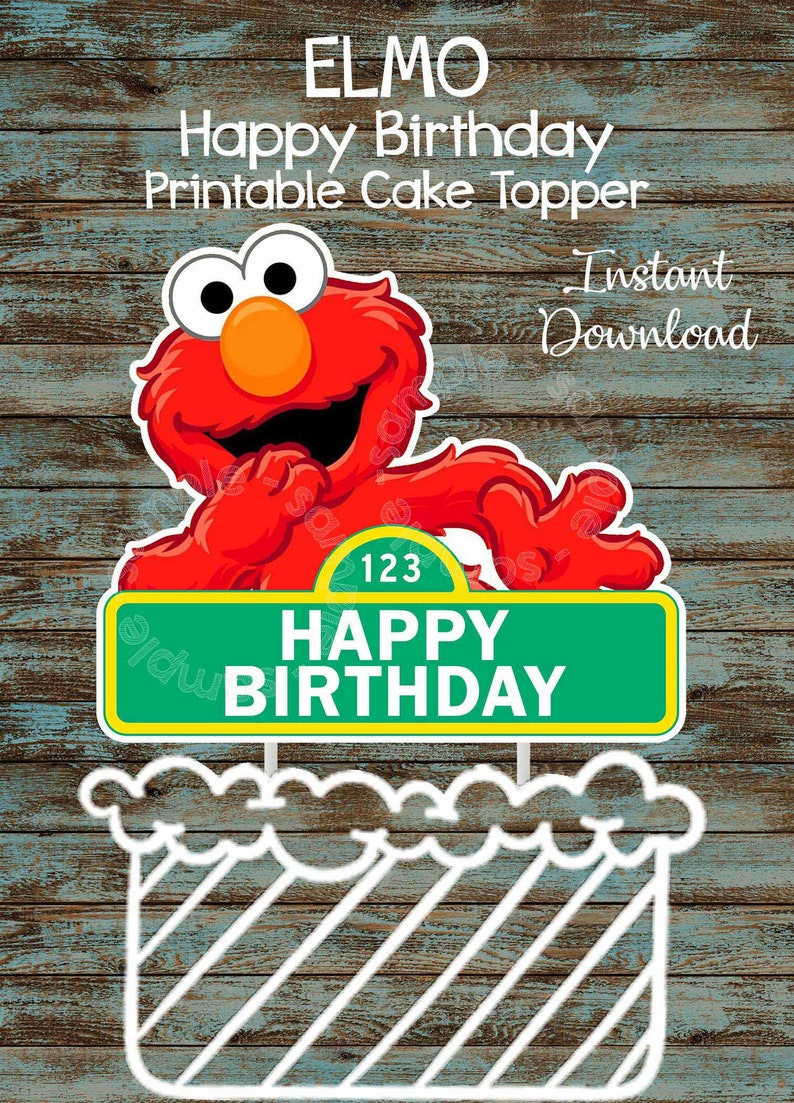Printable Elmo Cake Topper Sesame Street Cake Topper Birthday Party Decorations Elmo Centerpieces Elmo Party Supplies Elmo Centerpiece