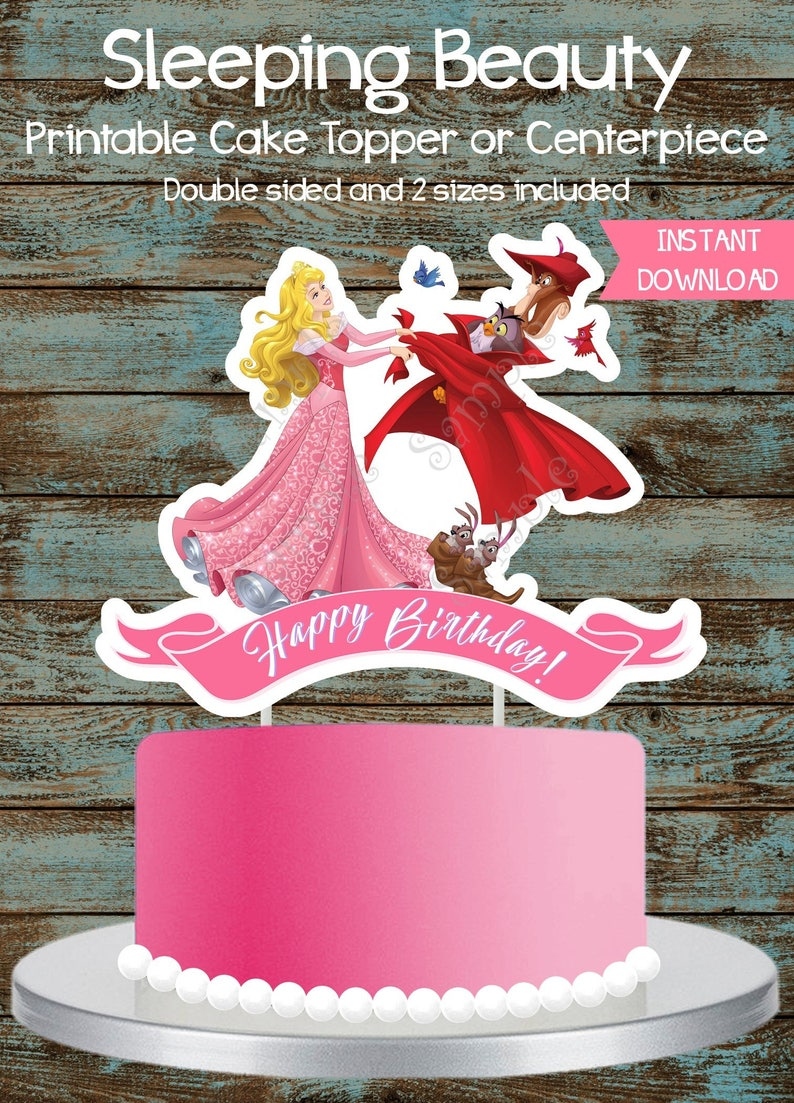 Sleeping Beauty Cake Topper Princess Aurora Printable Etsy