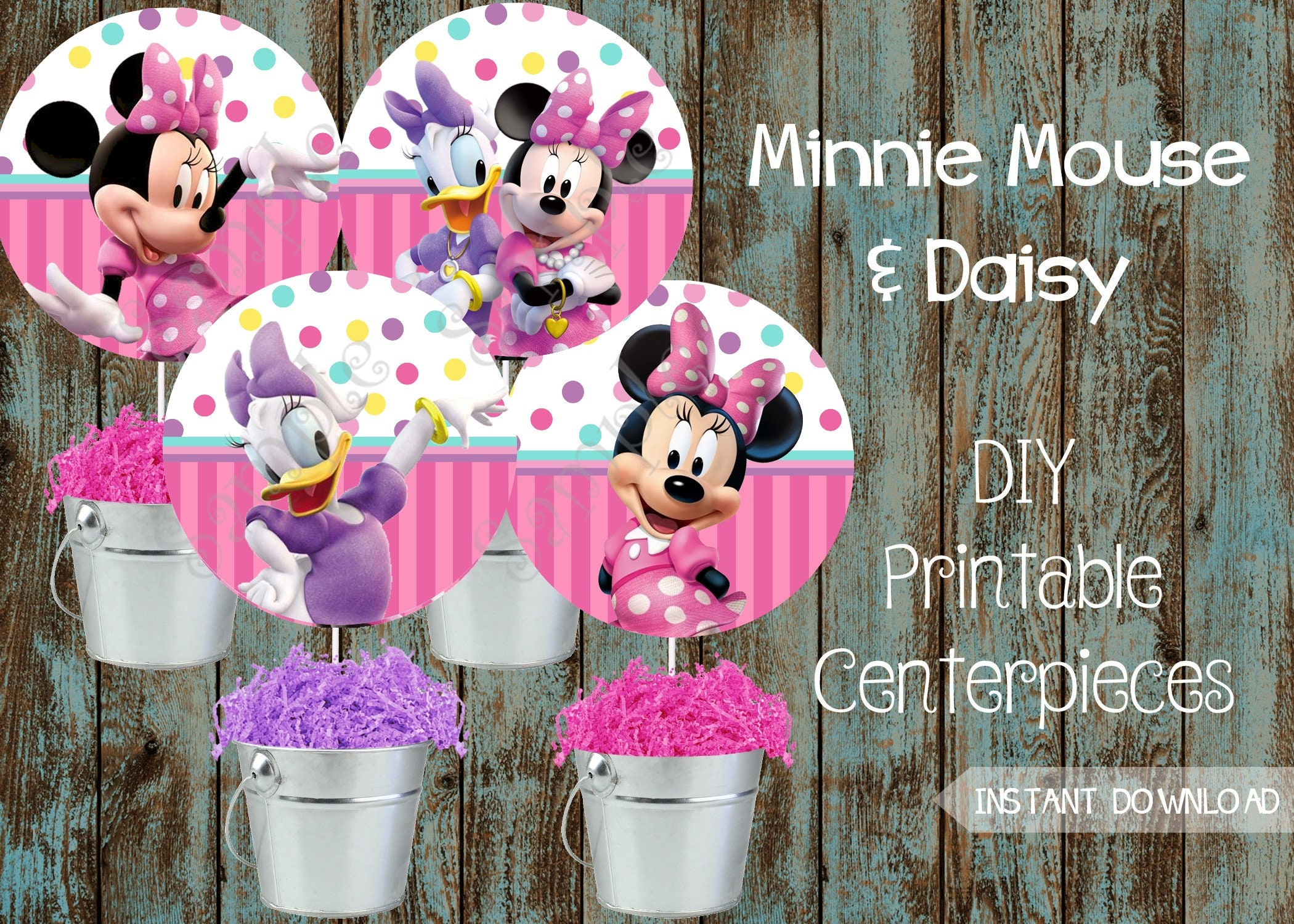 Printable Minnie Mouse First Birthday Centerpieces