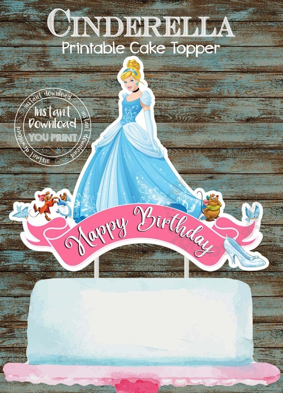 Miraculous Printable Cinderella Cake Topper Cinderella Centerpiece Etsy Funny Birthday Cards Online Overcheapnameinfo
