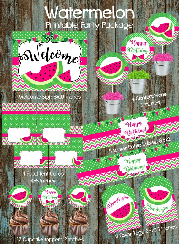 Watermelon Party Package, Watermelon Printable Party Decorations, Watermelon Party Supplies , Watermelon Birthday Party, Watermelon Party