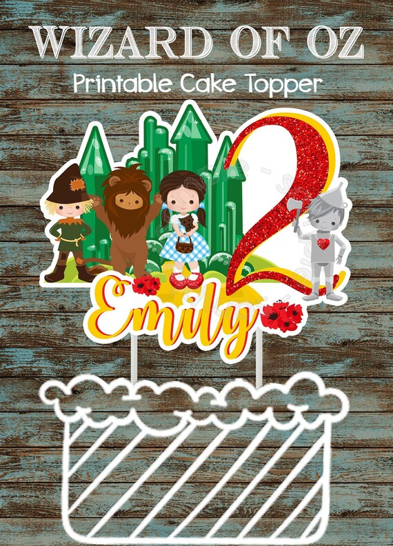 Terrific Wizard Of Oz Printable Cake Topper Diy Wizard Of Oz Birthday Etsy Birthday Cards Printable Riciscafe Filternl