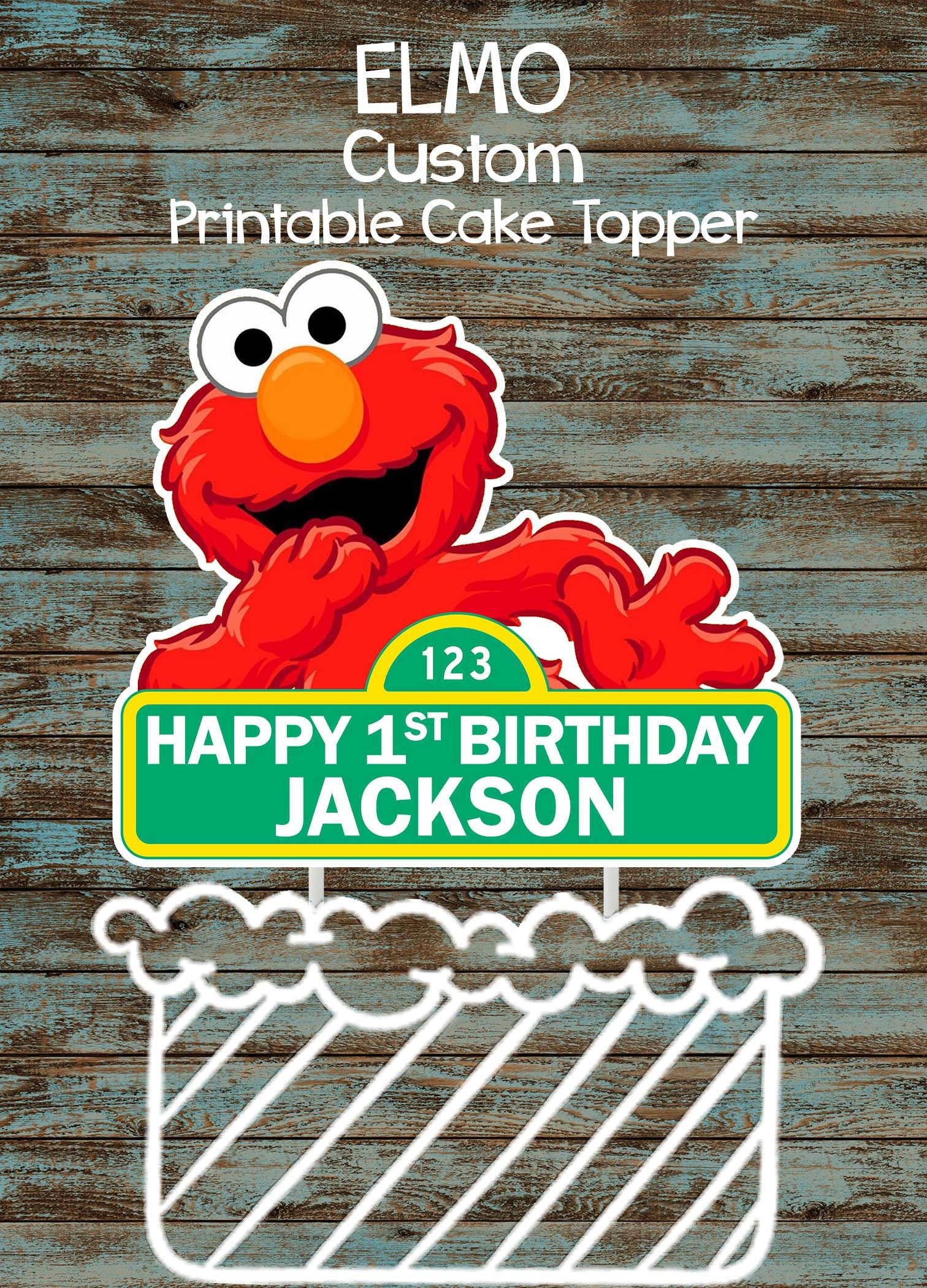 Printable Elmo Cake Topper Custom Centerpiece Etsy Jpg 1512x2100 1st Birthday Templates