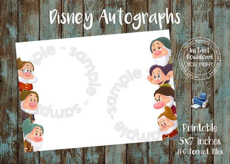 Disney World Seven Dwarfs Autograph Book Printable Seven Dwarfs Autograph card Disneyland Seven Dwarfs Autograph Photo