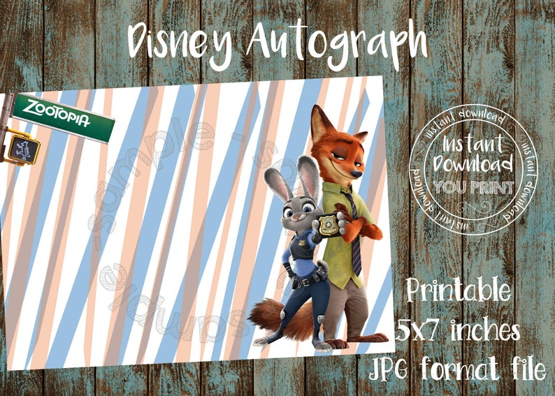 Printable Zootopia Autograph card Disneyland Zootopia Autograph Photo Disney World Zootopia Autograph Book