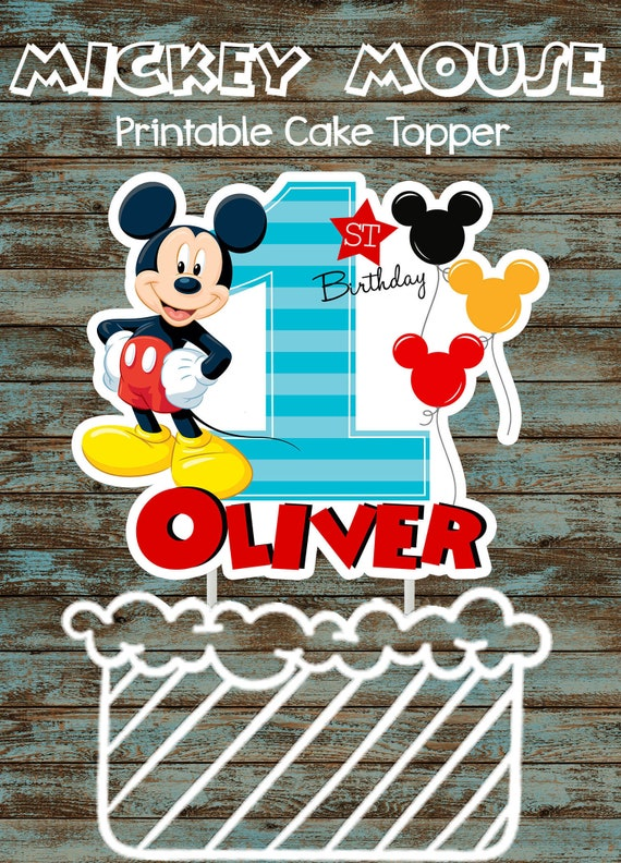 Excellent Printable Baby Mickey Mouse 1St Birthday Cake Topper Custom Etsy Funny Birthday Cards Online Elaedamsfinfo