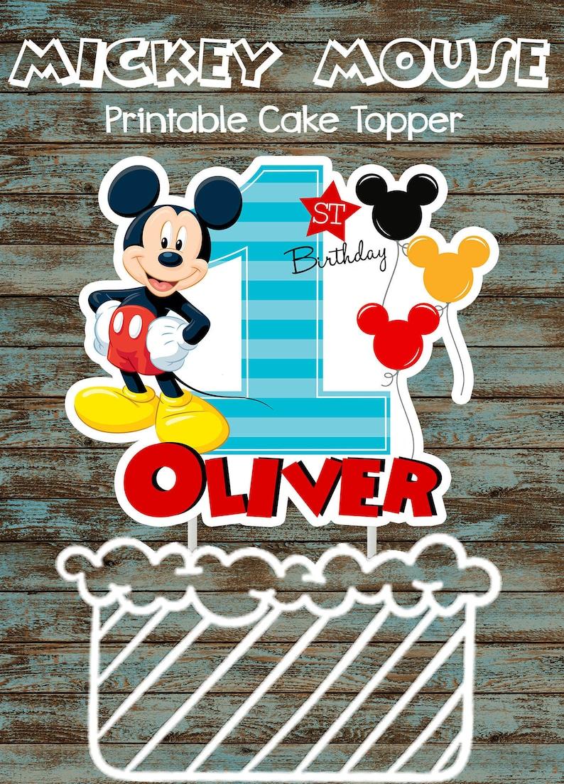 Printable Baby Mickey Mouse 1st Birthday Cake Topper Custom