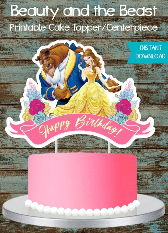 Remarkable Beauty And Beast Cake Topper Belle Cake Topper Printable Etsy Personalised Birthday Cards Paralily Jamesorg