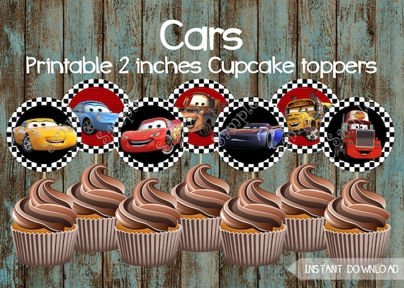 Cars Cupcake Toppers Cars 3 Printable Cupcake Toppers Cars Etsy