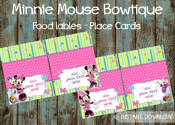 Minnie Mouse Food Labels Editable Tent