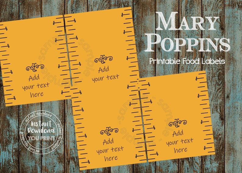 Mary Poppins Food Label, Mary Poppins place card, Mary Poppins tent card,  Mary Poppins label, Mary Poppins party, Mary Poppins birthday