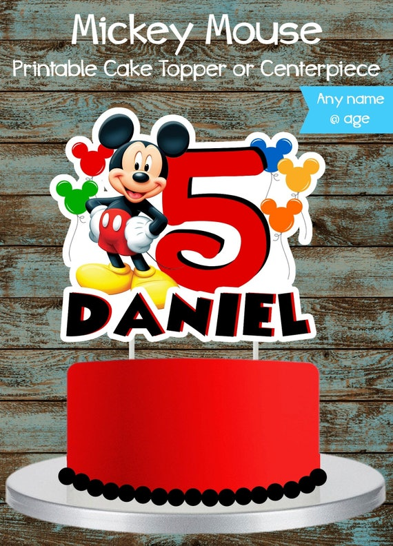 Mickey Mouse Inspired Custom Name and Age Birthday Cake Topper