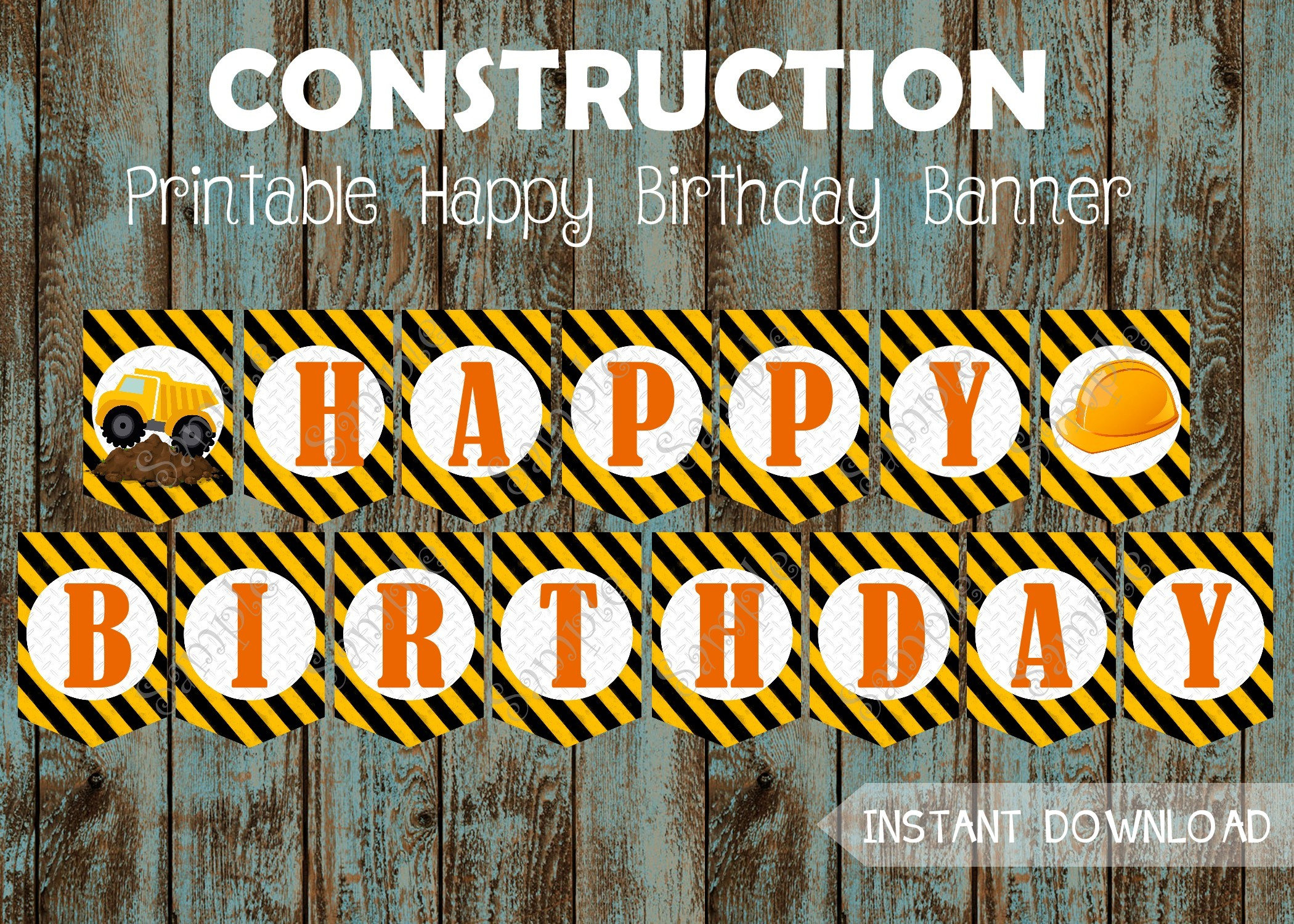 Construction Happy Birthday Banner Printable
