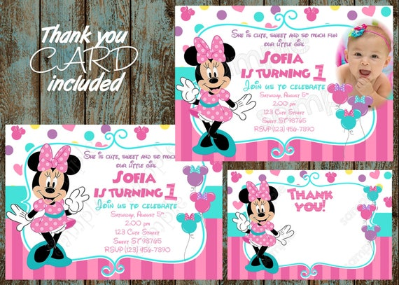 Minnie Mouse Invitation Minnie Mouse First Birthday Etsy