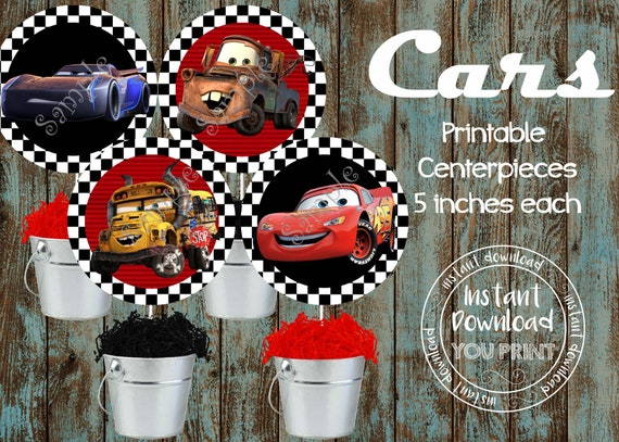 Printable Cars Centerpieces Birthday Party Decorations