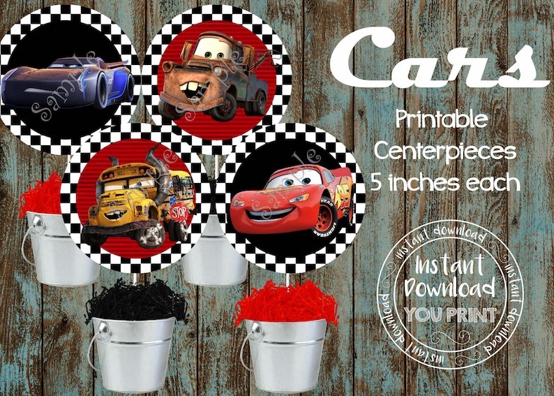 Printable Cars Centerpieces Birthday Party Decorations Dinsey Supplies DIY Disney