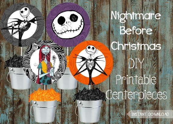 1 pc Nightmare Before Christmas Halloween 2 Sided Centerpiece Different Image Jack Skellington t 6 inch Cake Topper