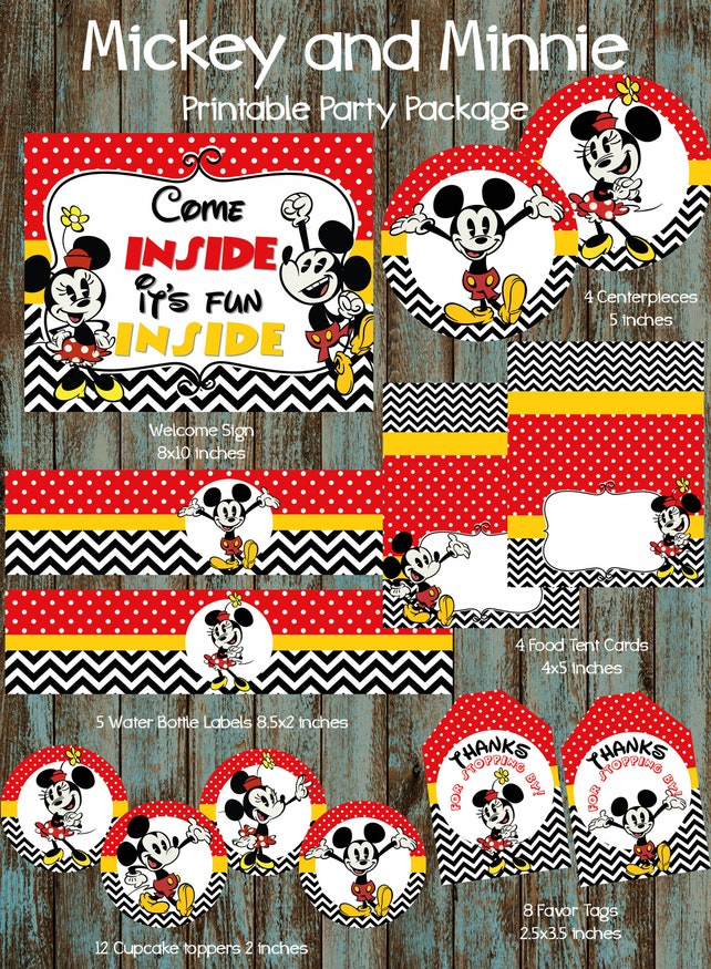 Minnie Mouse Party Package, Minnie Mouse Party Supplies, Minnie Mouse Birthday Party, Minnie Mouse Ceterpieces, Minnie Mouse Decorations