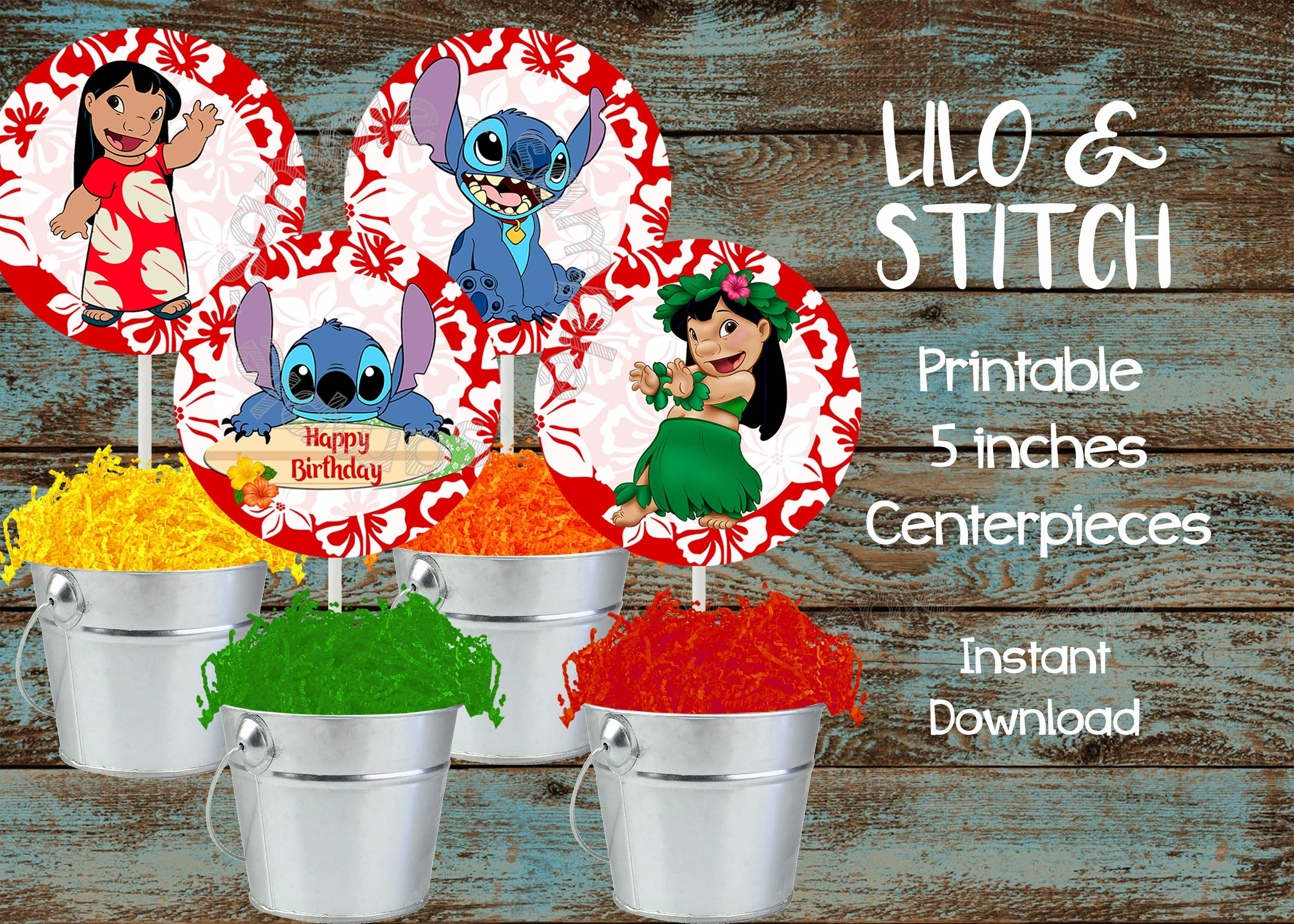 Printable Lilo And Stitch Centerpieces Lilo And Stitch Etsy